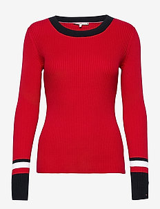 TH WARM C-NK GLOBAL STRIPE SWTR - jumpers - primary red