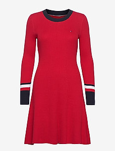 TH WARM C-NK FIT & FLARE DRESS - knitted dresses - primary red