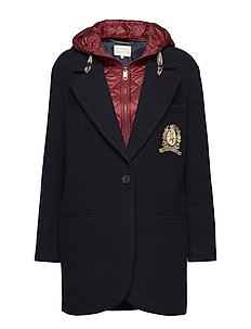TOMMY ICONS WOOL AND NYLON COAT - MIDNIGHT