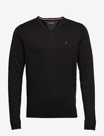 CORE COTTON-SILK VNECK - knitted v-necks - flag black