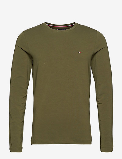 STRETCH SLIM FIT LON - basic t-shirts - olivewood