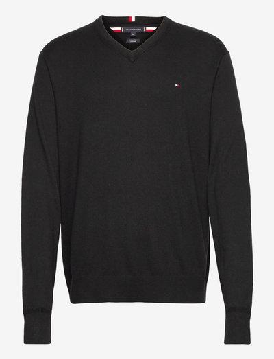 PIMA COTTON CASHMERE V NECK - knitted v-necks - black