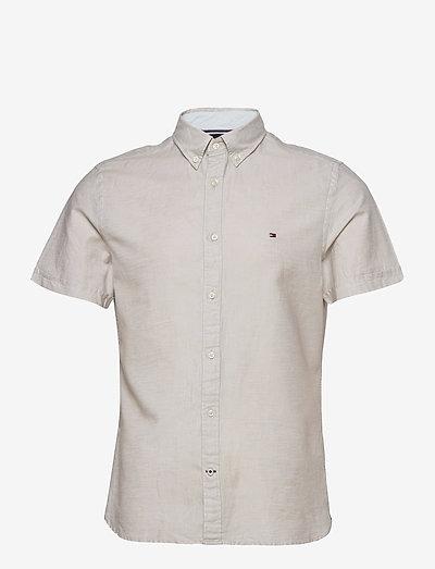 SLIM CO/LI TWILL SHIRT S/S - rutiga skjortor - sand trap