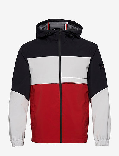 TECH GLOBAL BLOCK HOODED JACKET - light jackets - desert sky / ecru / primary red