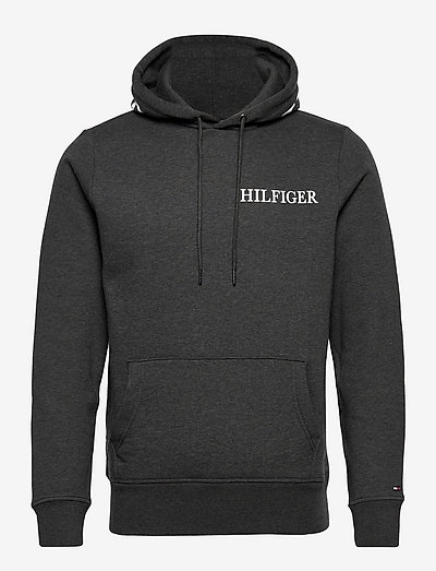 HILFIGER LOGO ON HOOD  HOODY - hoodies - dark grey heather