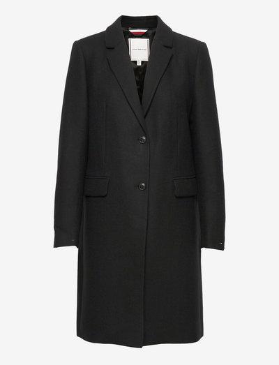 TH ESS WOOL BLEND CLASSIC COAT - wełniane płaszcze - black
