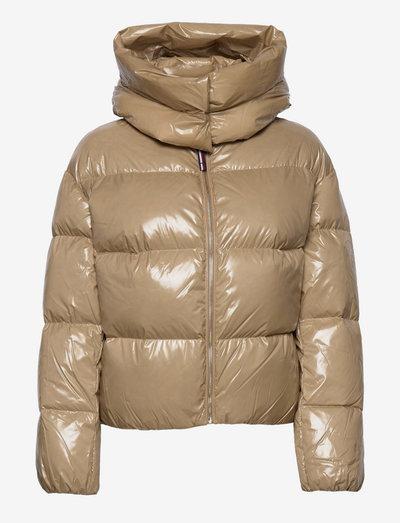 GLOSSY DOWN PUFFER JACKET - vinterjakker - beige