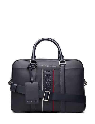 Leather Computer Bag Laptop-Tasche Tasche Blau TOMMY HILFIGER