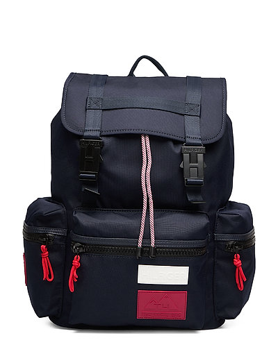 Outdoor Nylon Flap Backpack Rucksack Tasche Blau TOMMY HILFIGER