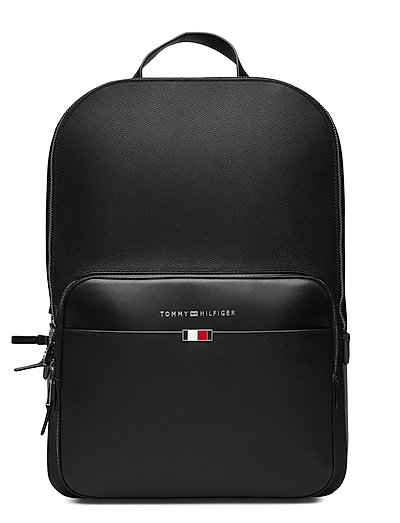 Business Leather Backpack Rucksack Tasche Schwarz TOMMY HILFIGER