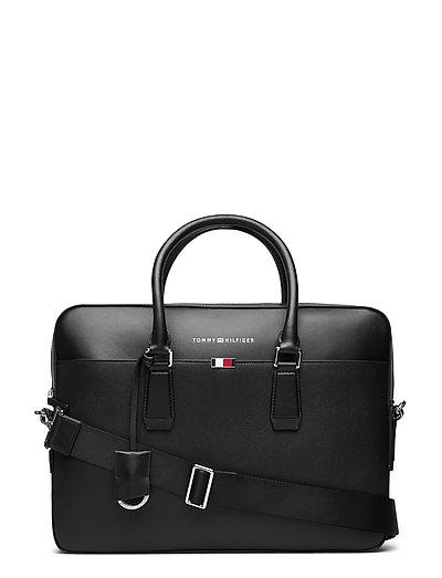 Business Leather Slim Comp Bag Laptop-Tasche Tasche Schwarz TOMMY HILFIGER