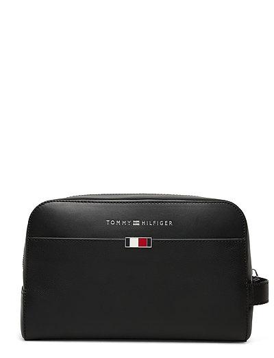 Business Leather Washbag Kosmetiktasche Schwarz TOMMY HILFIGER