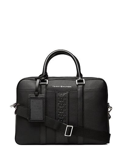 Leather Computer Bag Laptop-Tasche Tasche Schwarz TOMMY HILFIGER