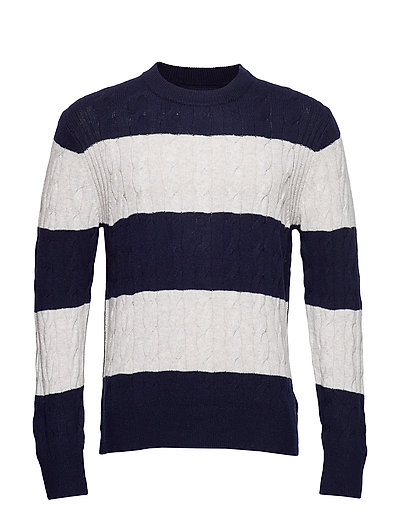 Block Striped Cable Sweater Strickpullover Rundhals Blau TOMMY HILFIGER