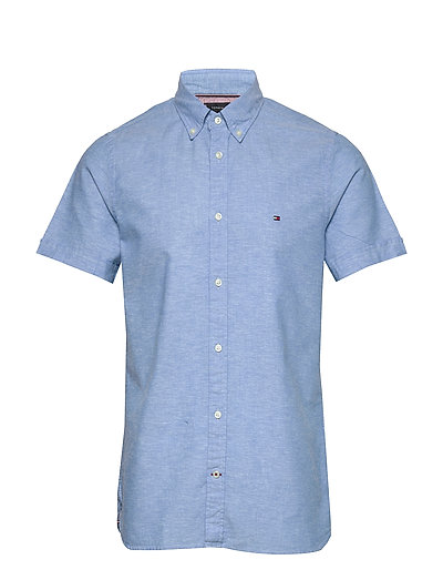 Slim Cotton Linen Shirt S/S Kurzärmliges Hemd Blau TOMMY HILFIGER