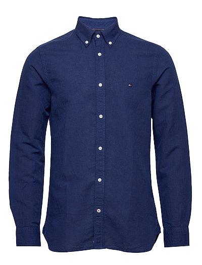 Slim Garment Dyed Co/Li Shirt Hemd Casual Blau TOMMY HILFIGER