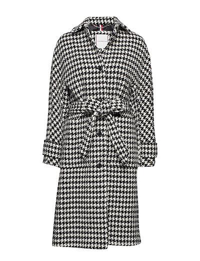 Nico Visual Wool Blend Coat Wollmantel Mantel Schwarz TOMMY HILFIGER