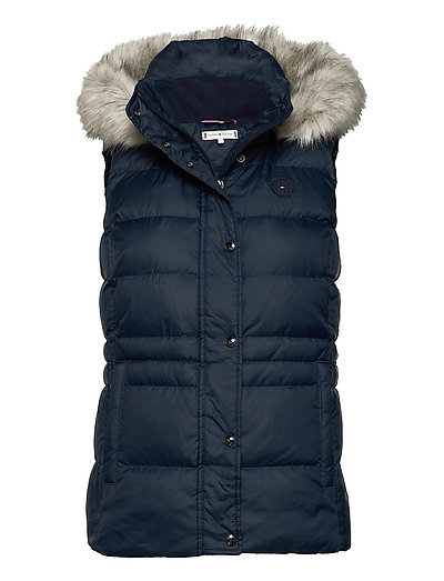 Th Ess Tyra Down Vest With Fur Vests Padded Vests Blau TOMMY HILFIGER | TOMMY HILFIGER SALE