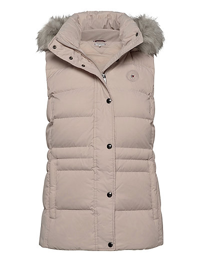 Th Ess Tyra Down Vest With Fur Vests Padded Vests Pink TOMMY HILFIGER | TOMMY HILFIGER SALE