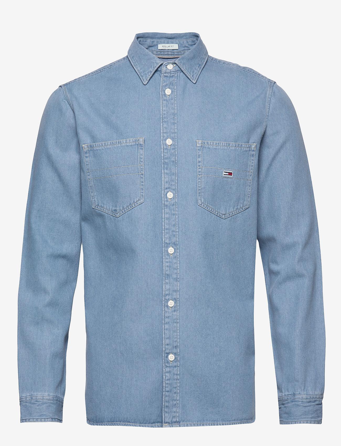 Tommy Jeans - TJM DENIM SHIRT - podstawowe koszulki - mid indigo - 0