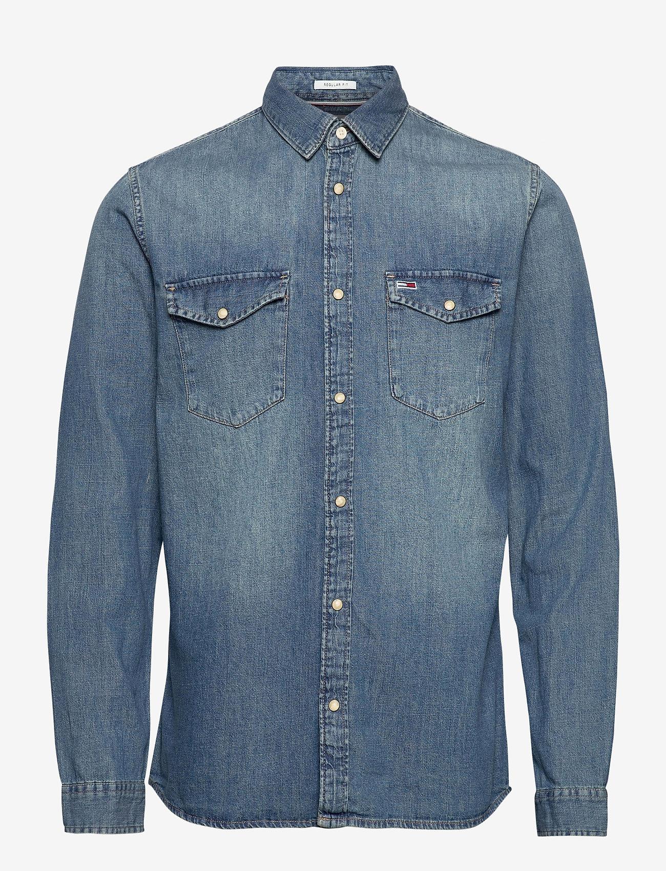 Tommy Jeans - TJM WESTERN DENIM SHIRT - basic shirts - mid indigo - 0