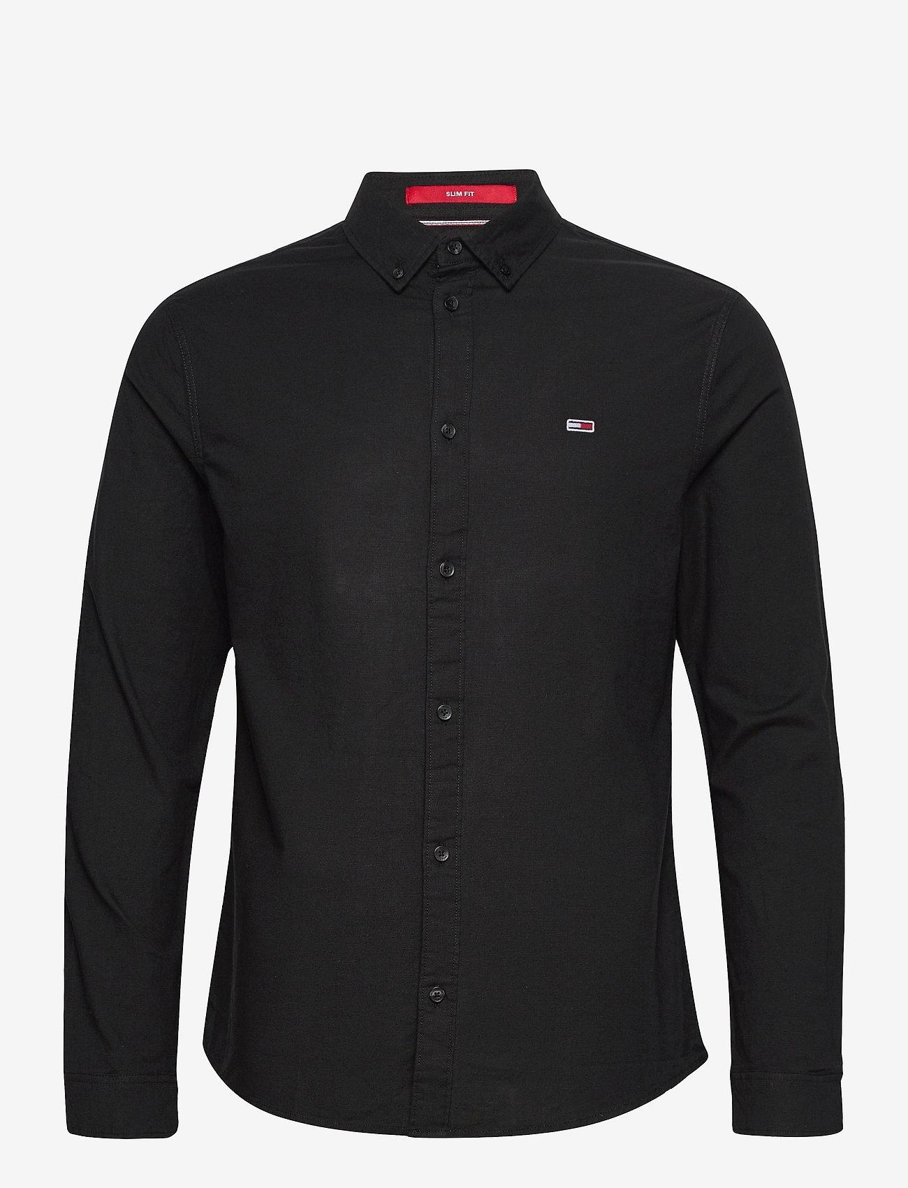 Tommy Jeans - TJM SLIM STRETCH OXF - rutiga skjortor - black - 0