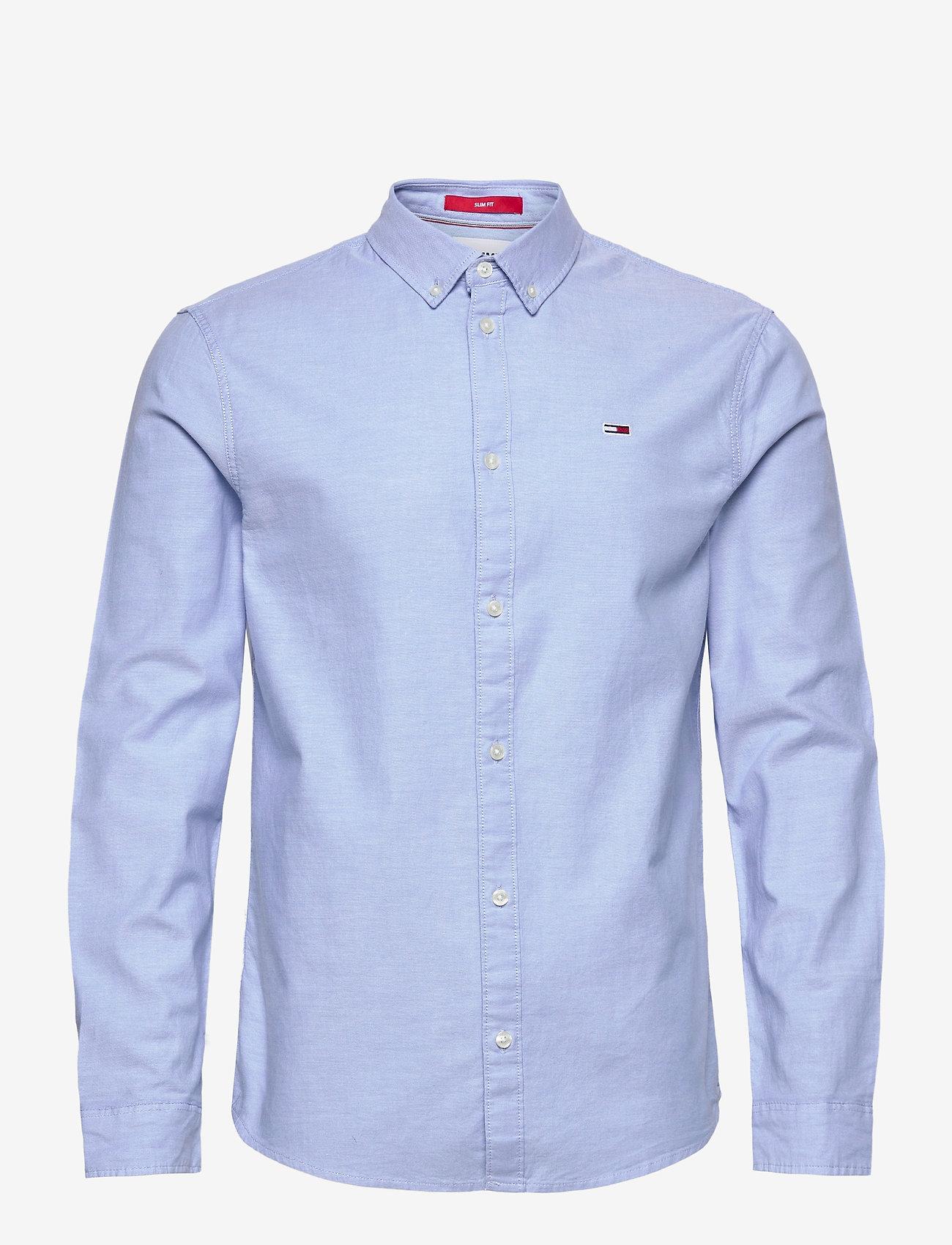 Tommy Jeans - TJM SLIM STRETCH OXF - rutiga skjortor - perfume blue - 0
