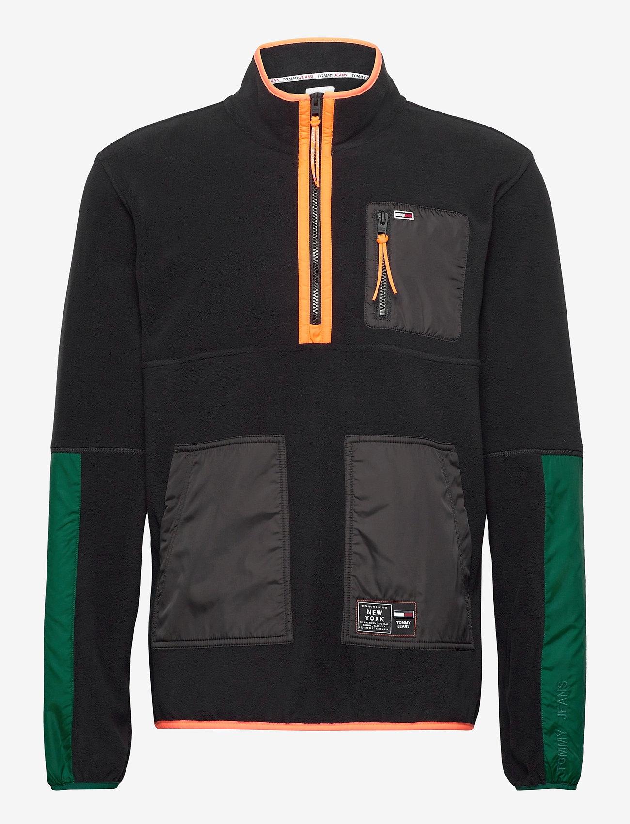 Tommy Jeans - TJM MIX FABRIC MOCK NECK C - basic-sweatshirts - black / multi - 0