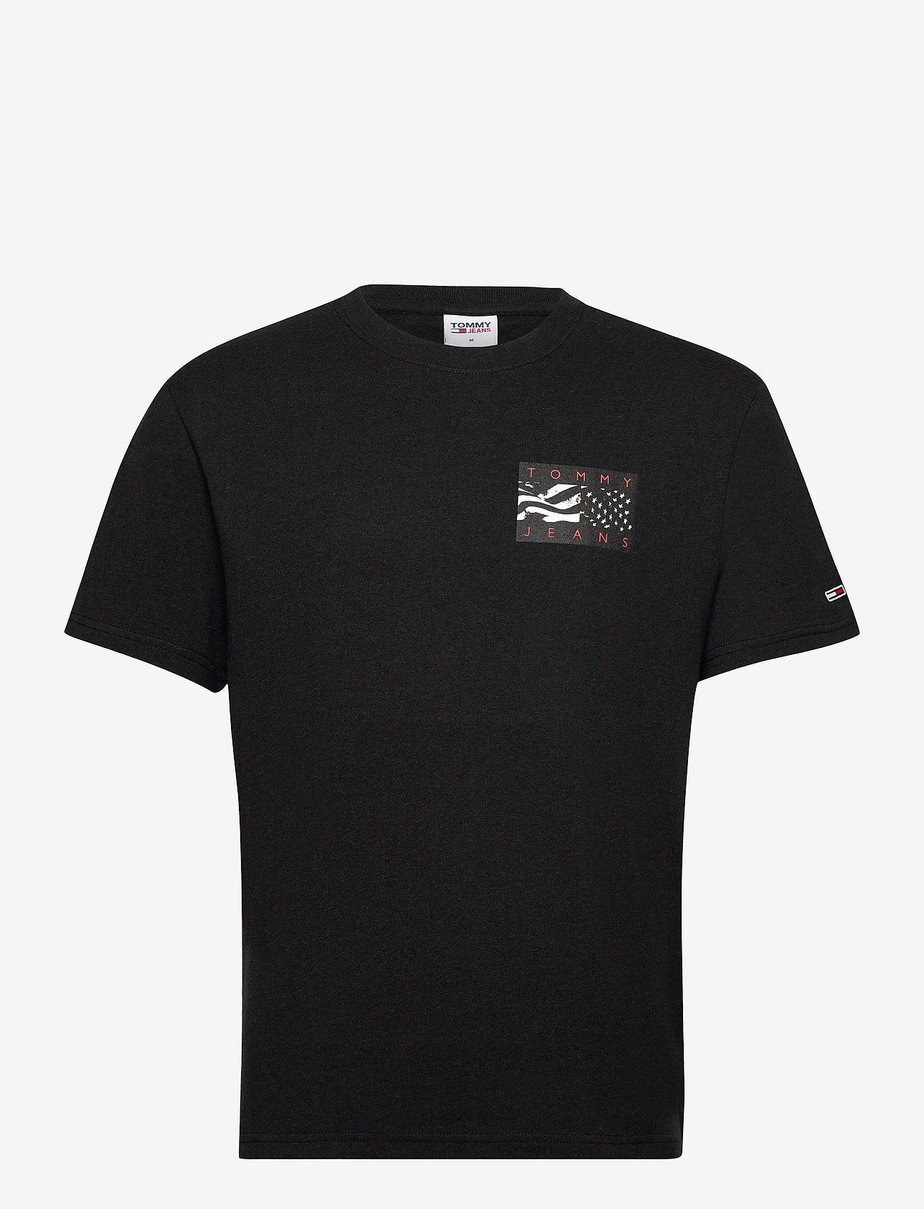 Tommy Jeans - TJM BACK FLAG TEE C - basic t-shirts - black - 0
