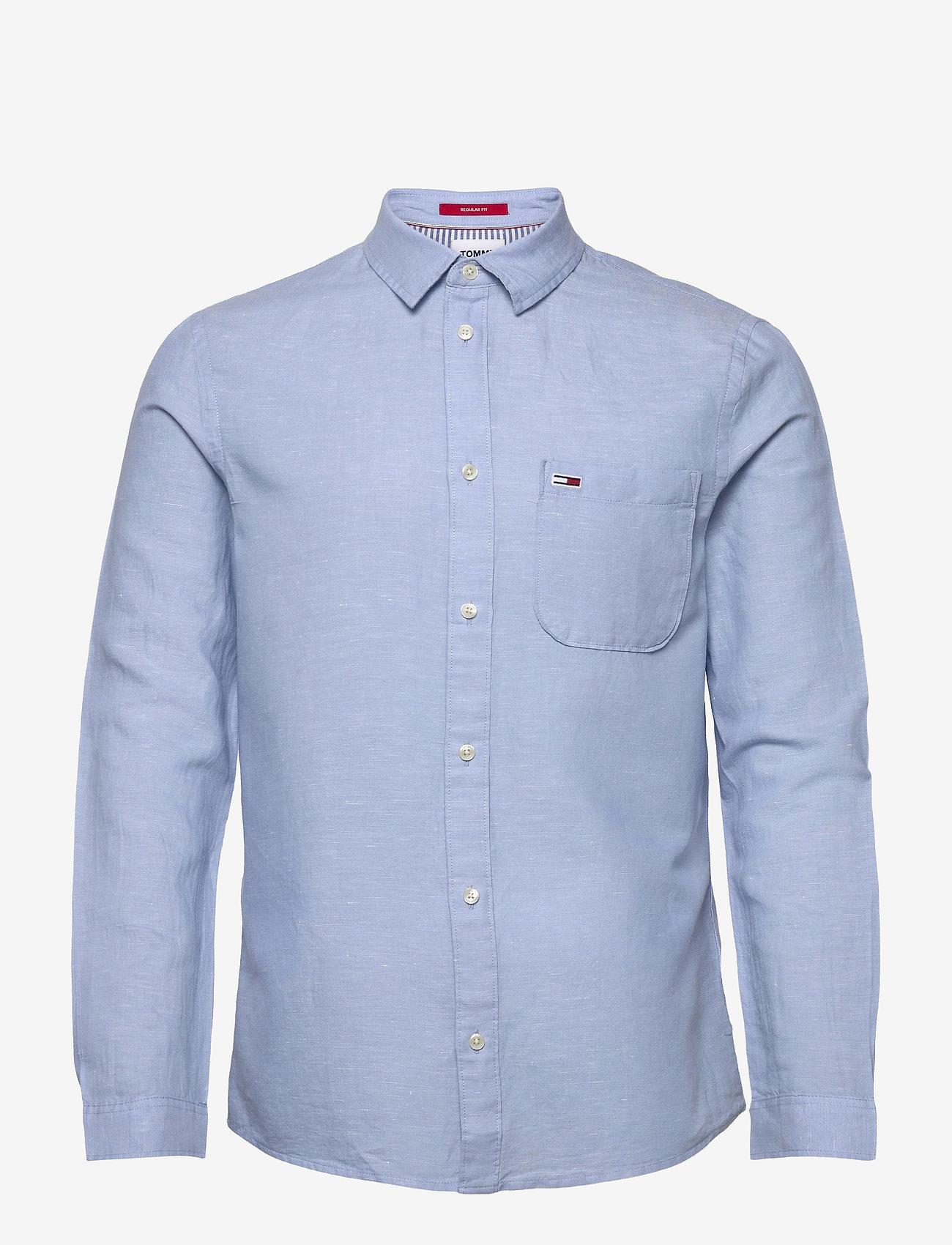 Tommy Jeans - TJM LINEN BLEND SHIRT - rutiga skjortor - light blue - 0