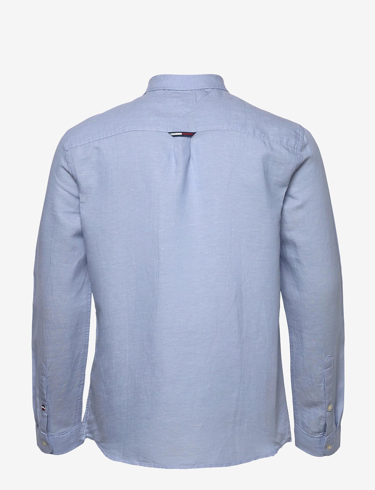 Tommy Jeans - TJM LINEN BLEND SHIRT - rutiga skjortor - light blue - 1