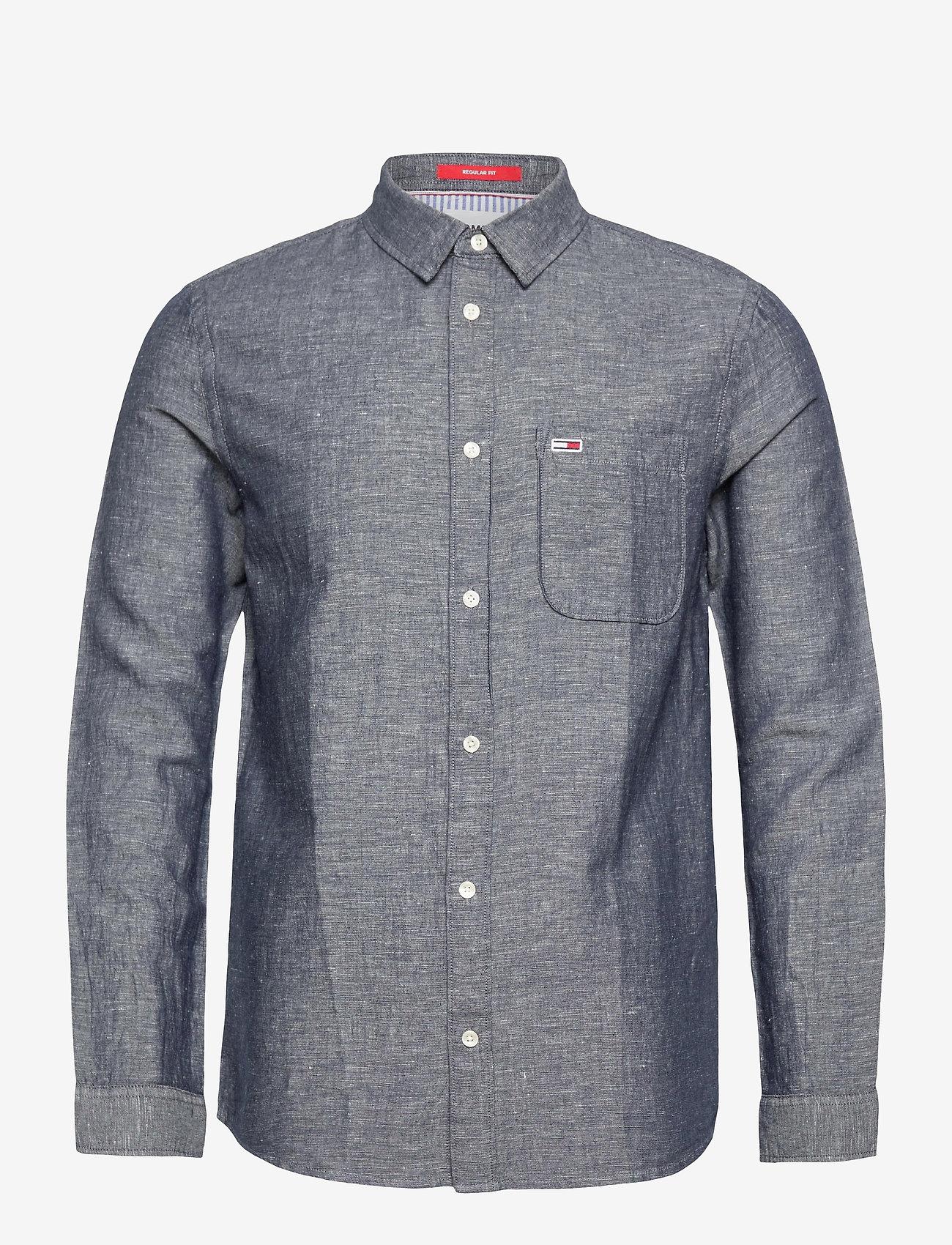 Tommy Jeans - TJM LINEN BLEND SHIRT - rutiga skjortor - twilight navy - 0