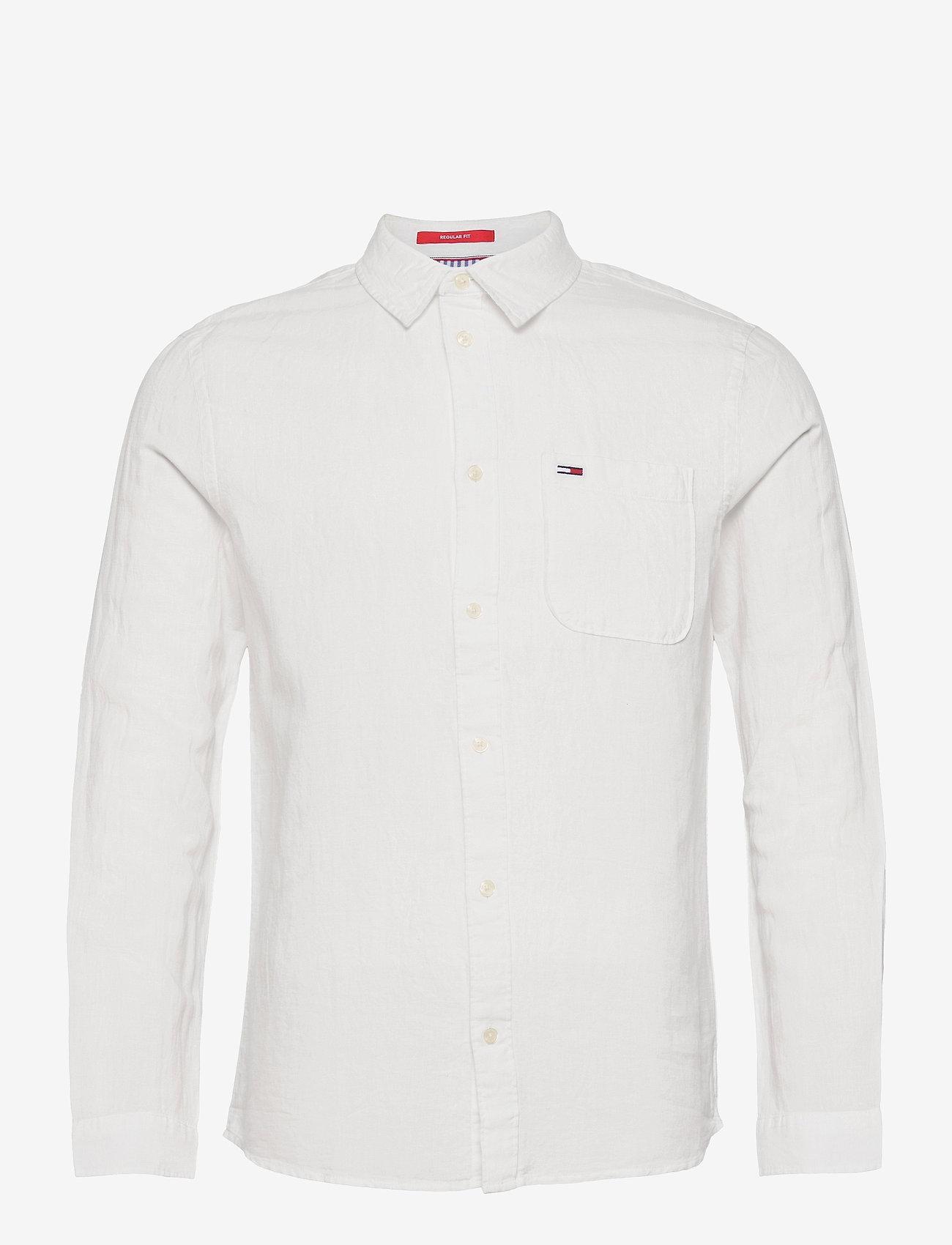 Tommy Jeans - TJM LINEN BLEND SHIRT - rutiga skjortor - white - 0