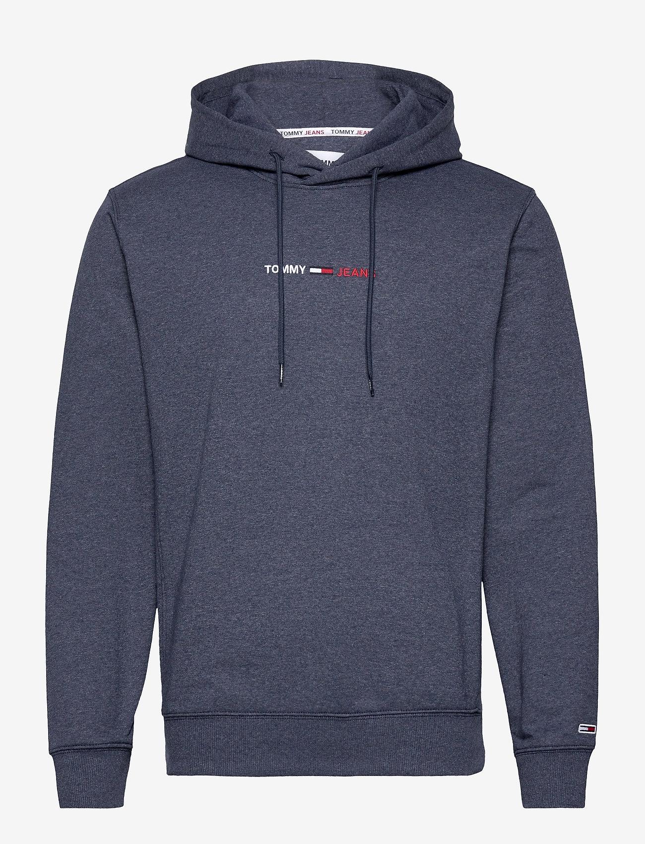 Tommy Jeans - TJM STRAIGHT LOGO HOODIE - basic sweatshirts - twilight navy htr - 0
