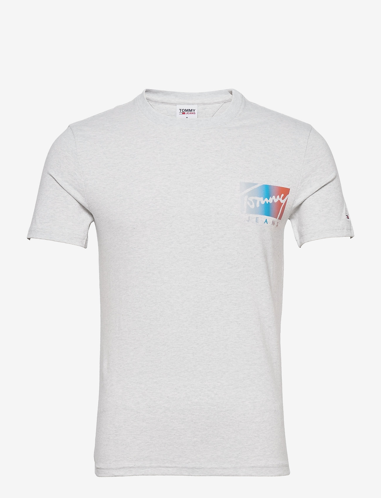 Tommy Jeans - TJM SCRIPT BOX LOGO TEE - kortärmade t-shirts - silver grey htr - 0