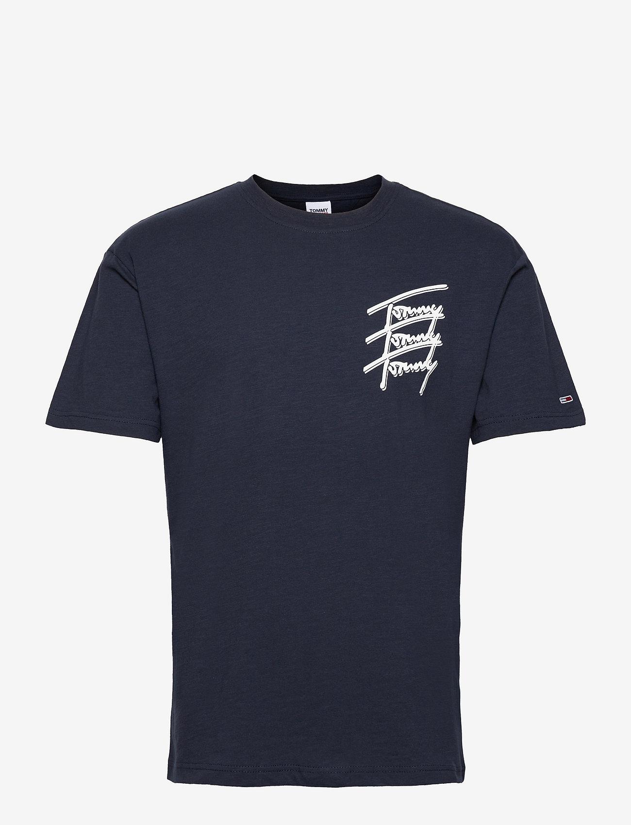 Tommy Jeans - TJM TOMMY REPEAT SCRIPT TEE - kortärmade t-shirts - twilight navy - 0
