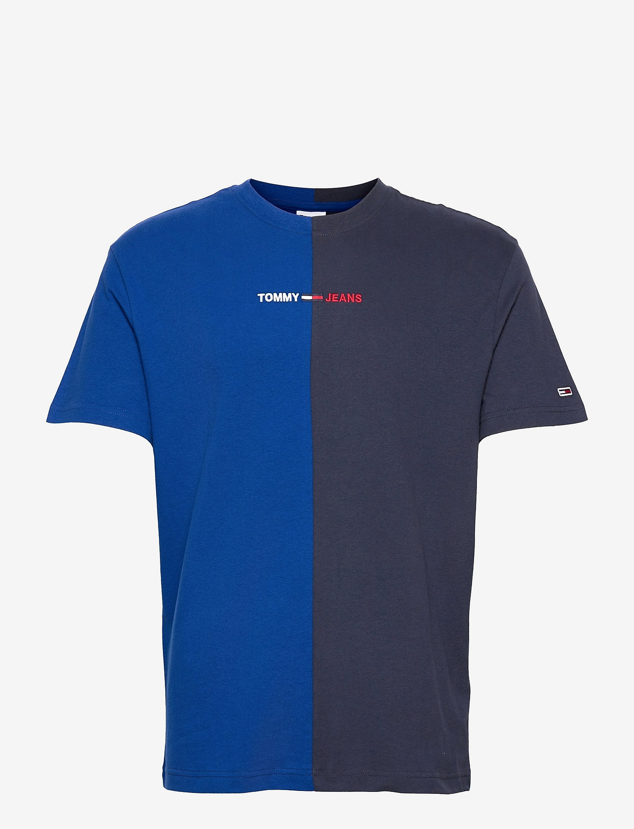 Tommy Jeans - TJM HALF N HALF LINEAR LOGO TEE - basic t-shirts - cobalt / twilight navy - 0