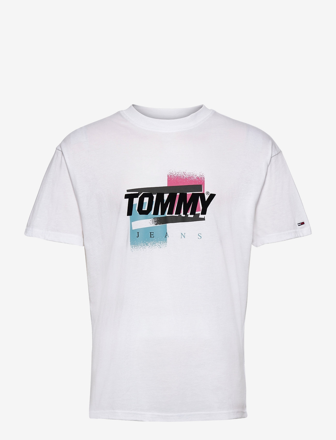 Tommy Jeans - TJM FADED COLOR GRAPHIC TEE - kortärmade t-shirts - white - 0