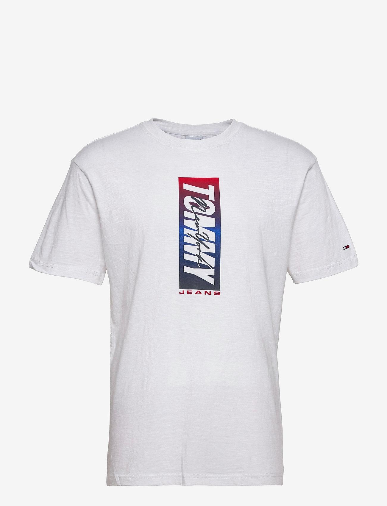 Tommy Jeans - TJM VERTICAL FRONT LOGO BOX TEE - t-shirts à manches courtes - white - 0