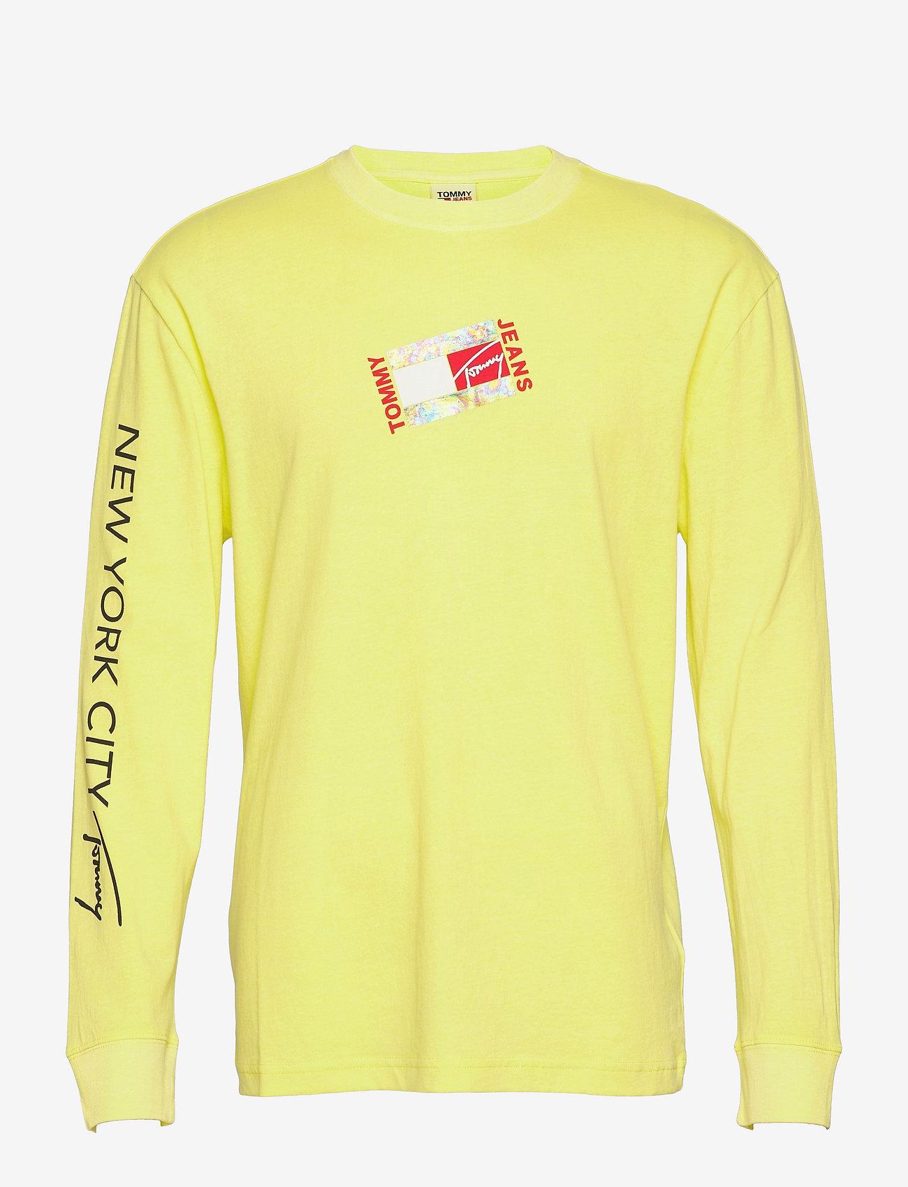 Tommy Jeans - TJM SMALL FLAG BOX LOGO TEE - långärmade t-shirts - faded lime - 0
