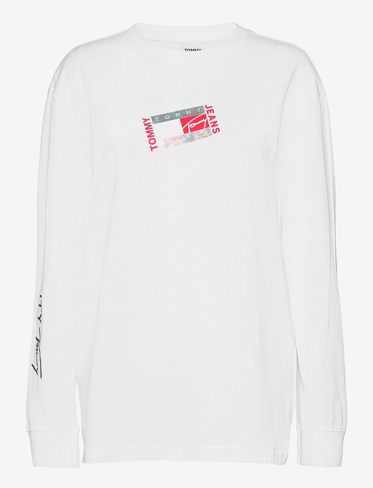 Tommy Jeans - TJM SMALL FLAG BOX LOGO TEE - långärmade t-shirts - white - 0