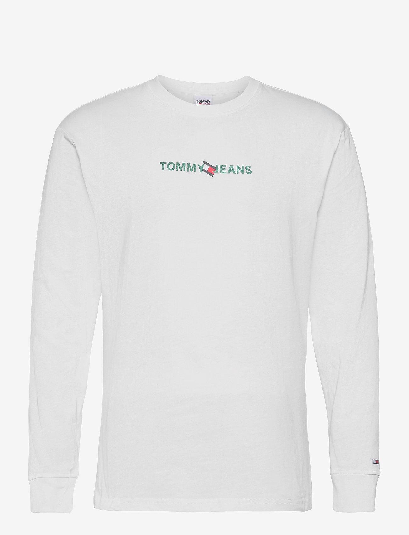 Tommy Jeans - TJM VERTICAL TOMMY LOGO TEE - långärmade t-shirts - white - 0
