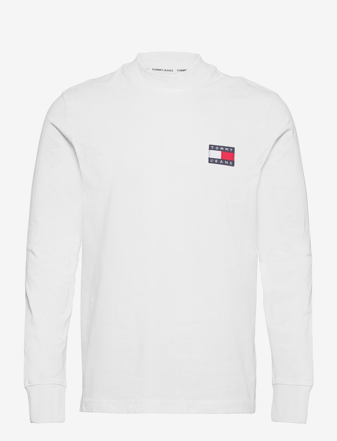 Tommy Jeans - TJM BADGE MOCK NECK LONGSLEEVE - basic t-shirts - white - 0