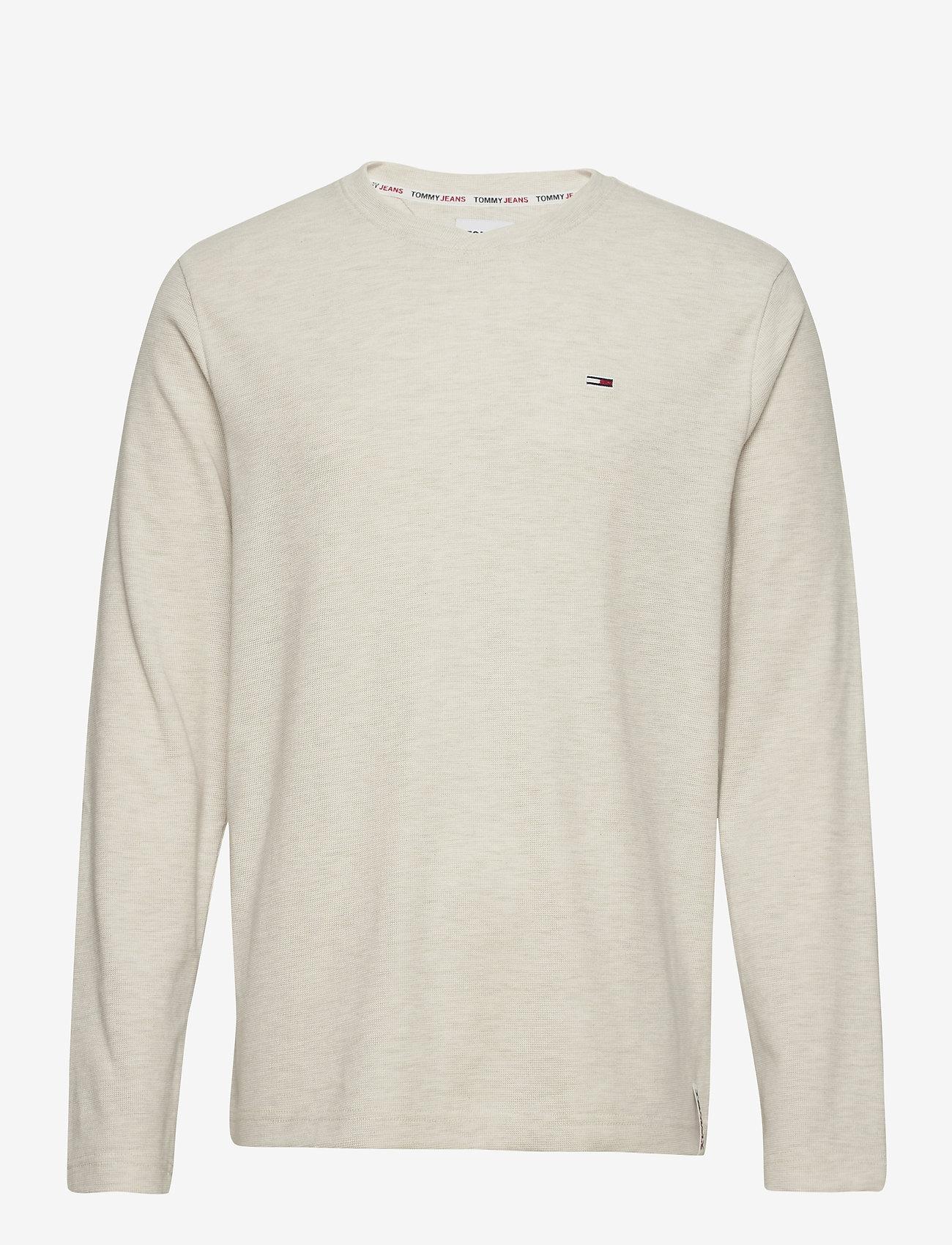 Tommy Jeans - TJM MINI WAFFLE JASPE LONGSLEEVE - basic t-shirts - white htr - 0