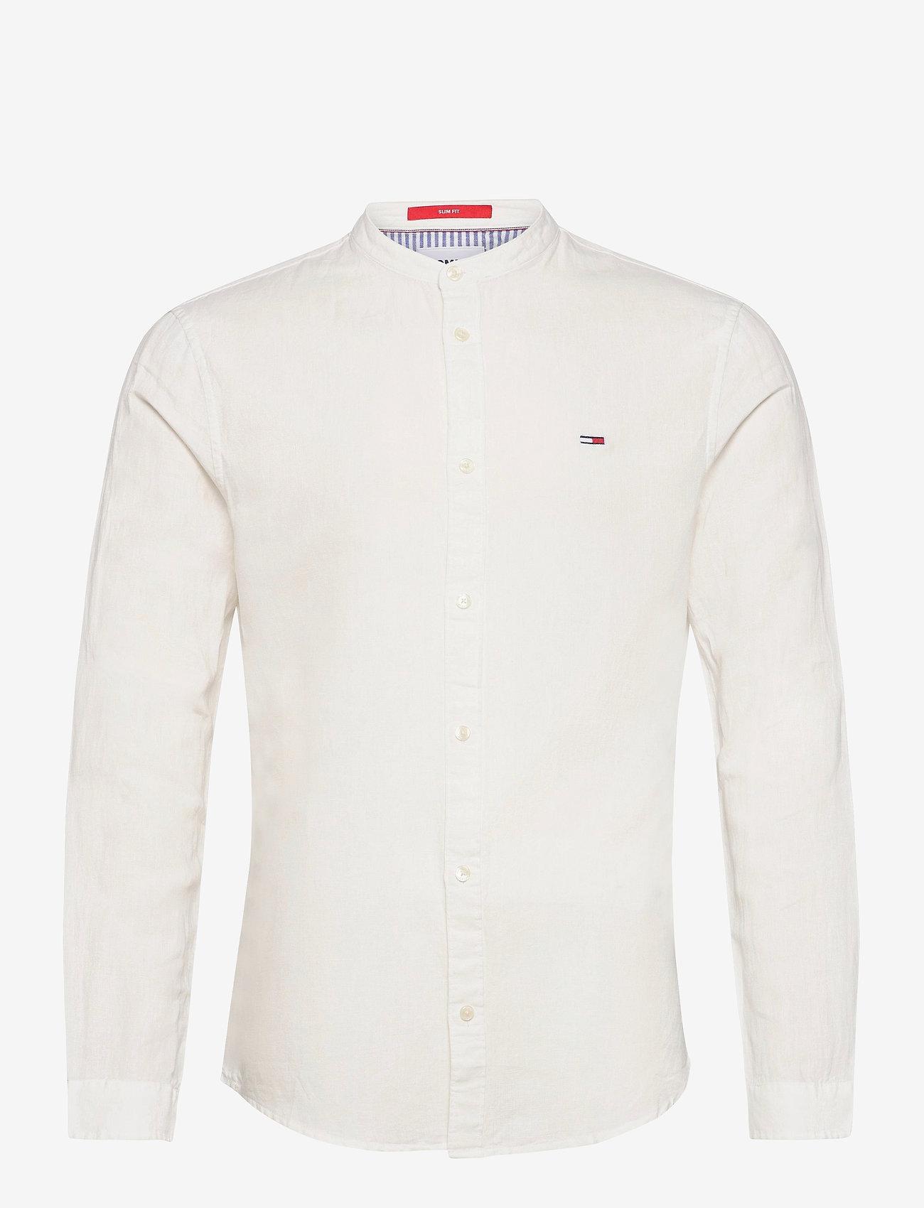Tommy Jeans - TJM MAO LINEN BLEND SHIRT - rutiga skjortor - white - 0