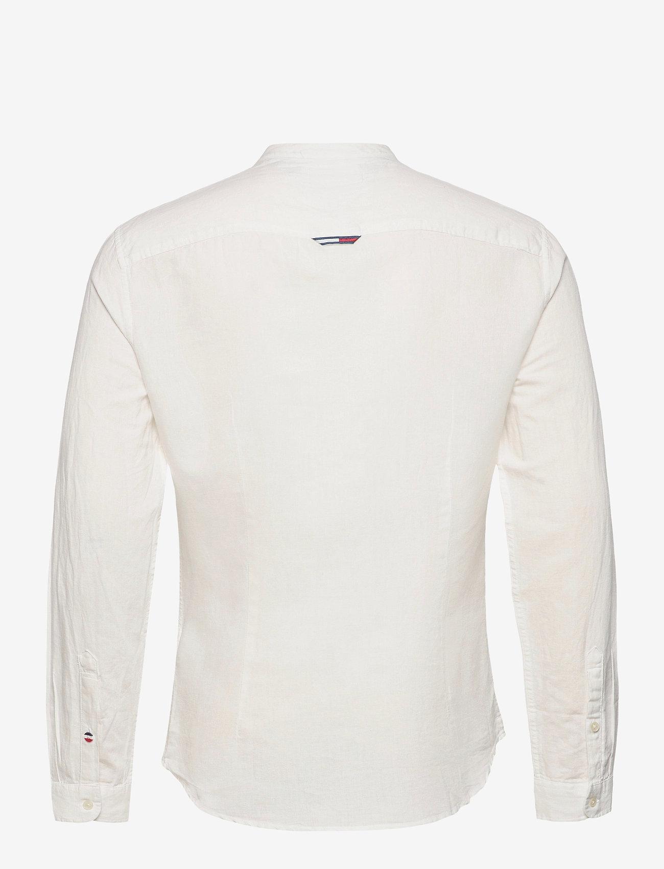 Tommy Jeans - TJM MAO LINEN BLEND SHIRT - rutiga skjortor - white - 1