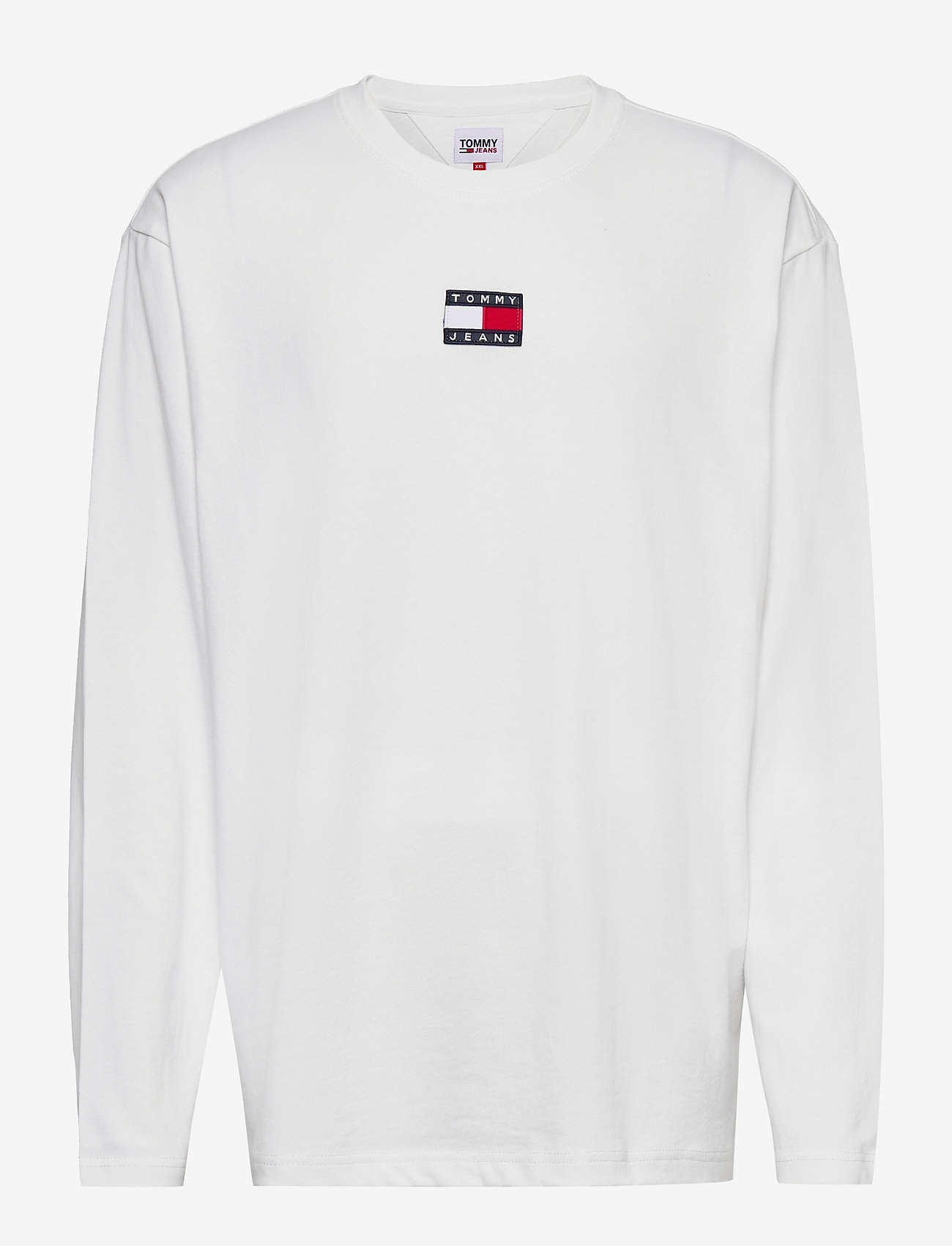 Tommy Jeans - TJM LS TOMMY BADGE TEE - långärmade t-shirts - white - 0