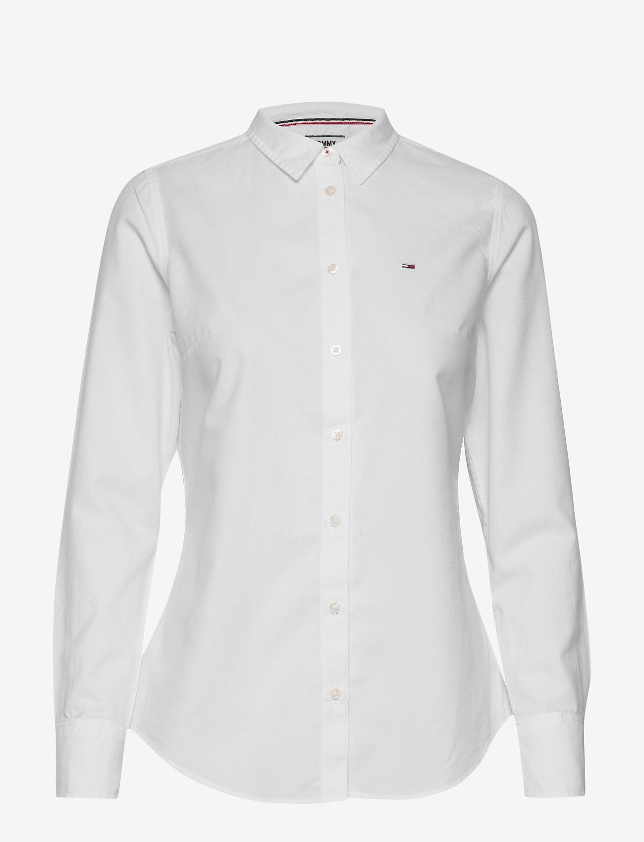 Tommy Jeans - TJW SLIM FIT OXFORD SHIRT - langærmede skjorter - white - 0