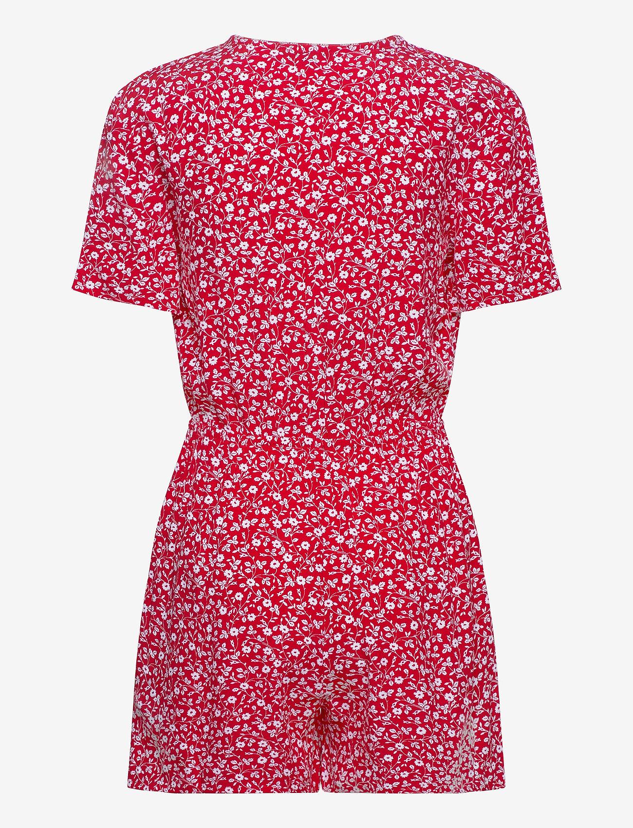 Tommy Jeans - TJW FLORAL PLAYSUIT - jumpsuits - floral print / deep crimson - 1