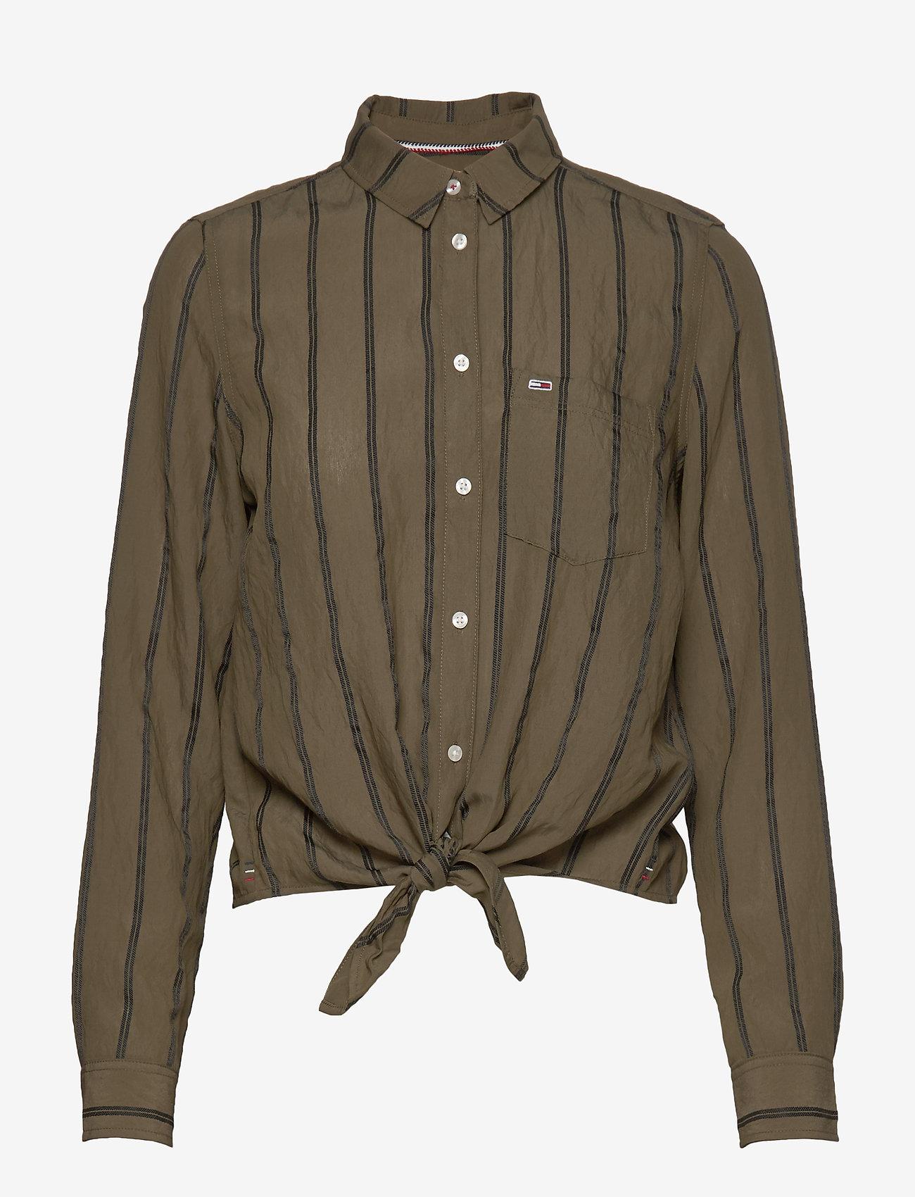 Tommy Jeans - TJW FRONT KNOT SHIRT - langærmede skjorter - olive tree / black - 0